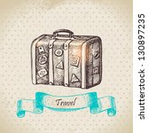 vintage background with travel... | Shutterstock .eps vector #130897235