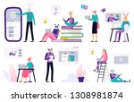 big set of online education.... | Shutterstock .eps vector #1308981874