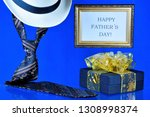 happy father's day tie  hat and ... | Shutterstock . vector #1308998374