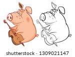 illustration of a cute pig... | Shutterstock . vector #1309021147