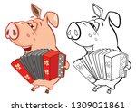 illustration of a cute pig... | Shutterstock . vector #1309021861