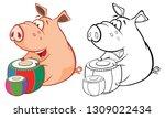 illustration of a cute pig... | Shutterstock . vector #1309022434