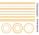 set of gold chains and ropes...   Shutterstock .eps vector #1309033321