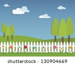 floral landscape with trees and ... | Shutterstock .eps vector #130904669