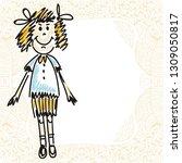 cute cartoon girl. vector...   Shutterstock .eps vector #1309050817