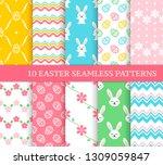 ten different easter seamless... | Shutterstock .eps vector #1309059847