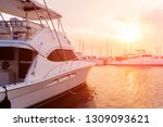 View of harbor with yachts details. Beautiful sunset sky in the marina bay. Background