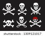 jolly roger set on black...   Shutterstock .eps vector #1309121017