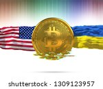 bitcoin with usa flag and... | Shutterstock . vector #1309123957
