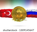 bitcoin with turkey flag and... | Shutterstock . vector #1309145647