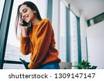 pretty caucasian employee using ... | Shutterstock . vector #1309147147