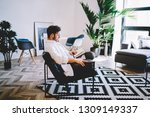 thoughtful man dressed in... | Shutterstock . vector #1309149337