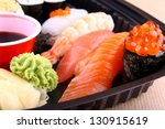 the focus of salmon caviar... | Shutterstock . vector #130915619