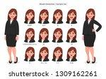 businesswoman's lip sync ... | Shutterstock .eps vector #1309162261