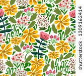 seamless floral pattern  spring ... | Shutterstock .eps vector #1309162414