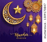 ramadan kareem or eid mubarak... | Shutterstock .eps vector #1309170847