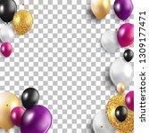 glossy happy birthday balloons...   Shutterstock .eps vector #1309177471