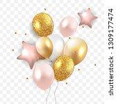 glossy happy birthday balloons... | Shutterstock .eps vector #1309177474