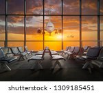 airplane departure  at sunset | Shutterstock . vector #1309185451