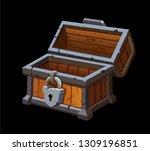 opened empty old treasure chest ... | Shutterstock .eps vector #1309196851