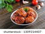 homemade meatballs on white...   Shutterstock . vector #1309214407