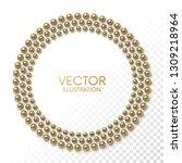 golden balls arranged in circle ... | Shutterstock .eps vector #1309218964