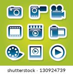 video icons over green... | Shutterstock .eps vector #130924739