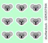 set of koala stickers.... | Shutterstock .eps vector #1309257544