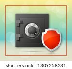 guarded safe box  credit card ... | Shutterstock .eps vector #1309258231