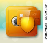 guarded safe box  credit card ... | Shutterstock .eps vector #1309258234