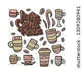more coffe please lettering... | Shutterstock .eps vector #1309280941