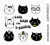 cute cats designs for t shirts. ... | Shutterstock .eps vector #1309283017