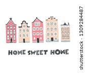 decorative doodle houses...   Shutterstock .eps vector #1309284487