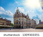 Town Hall on Main Square in Rzeszow, regional capital of Podkarpackie voivodeship, Poland at sunny day. Rzeszow Town Hall is the most famous tourist attraction in the city.