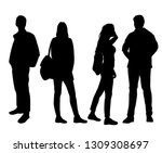 set of vector silhouettes of ... | Shutterstock .eps vector #1309308697