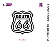 outline route icon isolated on... | Shutterstock .eps vector #1309320211