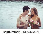 couple in love with bikini and... | Shutterstock . vector #1309337071
