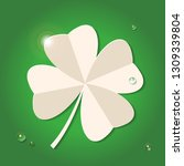 four leaf paper clover with... | Shutterstock . vector #1309339804