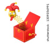 surprise box with jester toy in ... | Shutterstock .eps vector #1309356991