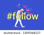 hashtag follow concept flat...   Shutterstock .eps vector #1309368127