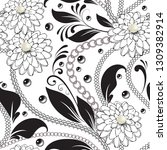 ornamental floral black and... | Shutterstock .eps vector #1309382914