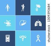 medicine icon set and human...