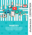 diabetes medical flat design... | Shutterstock .eps vector #1309407604