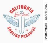 california slogan t shirt with... | Shutterstock .eps vector #1309410907
