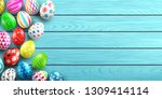 handmade painted easter eggs on ... | Shutterstock .eps vector #1309414114
