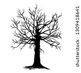tree silhouette isolated on... | Shutterstock .eps vector #1309418641