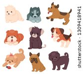 puppy set with beautiful cute... | Shutterstock .eps vector #1309418941