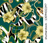 seamless summer pattern with... | Shutterstock .eps vector #1309432297