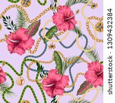 seamless summer pattern with... | Shutterstock .eps vector #1309432384