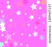 pastel colorful stars on pinky... | Shutterstock .eps vector #1309437157